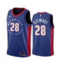 Men Nike Detroit Pistons 28 Isaiah Stewart Blue NBA Swingman 2020 21 City Edition Jersey