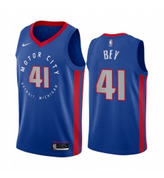 Men Nike Detroit Pistons 41 Saddiq Bey Blue NBA Swingman 2020 21 City Edition Jersey