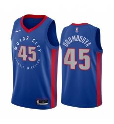 Men Nike Detroit Pistons 45 Sekou Doumbouya Blue NBA Swingman 2020 21 City Edition Jersey