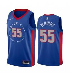 Men Nike Detroit Pistons 55 Delon Wright Blue NBA Swingman 2020 21 City Edition Jersey