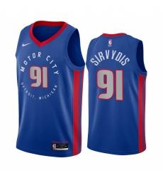 Men Nike Detroit Pistons 91 Deividas Sirvydis Blue NBA Swingman 2020 21 City Edition Jersey
