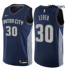 Womens Nike Detroit Pistons 30 Jon Leuer Swingman Navy Blue NBA Jersey City Edition