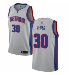 Womens Nike Detroit Pistons 30 Jon Leuer Swingman Silver NBA Jersey Statement Edition