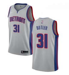 Womens Nike Detroit Pistons 31 Caron Butler Authentic Silver NBA Jersey Statement Edition