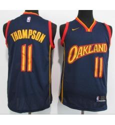 Men Golden State Warriors 11 Klay Thompson Navy 2021 New Nike Swingman Jersey