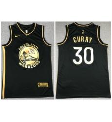 Men Golden State Warriors 30 Stephen Curry Black Gold 2021 Nike Swin