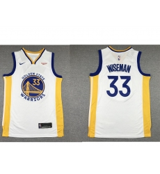Men Golden State Warriors 33 James Wiseman White 2019 Nike Swingman NEW Rakuten Logo Stitched NBA Jersey