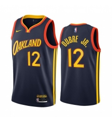 Men Nike Golden State Warriors 12 Kelly Oubre Jr Navy NBA Swingman 2020 21 City Edition Jersey