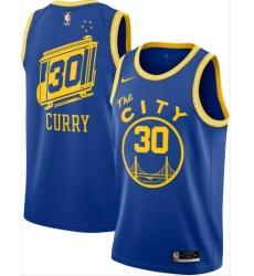 Men Warriors 30 Stephen Curry Blue City Edition Nike Swingman Jersey