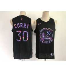 Men's Golden State Warriors #30 Stephen Curry Black Iridescent Holographic 2021 Jersey