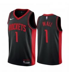 Men Houston Rockets 1 John Wall Black NBA Swingman 2020 21 Earned Edition Jersey