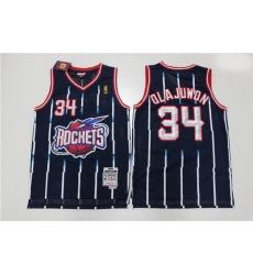 Men Houston Rockets Hakeem Olajuwon 34 Blue Mitchell Ness NBA Jersey