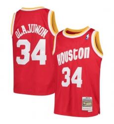 Men Houston Rockets Hakeem Olajuwon 34 Red Mitchell Ness NBA Jersey