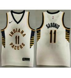 Men Indiana Pacers 11 Domantas Sabonis New White 2021 Nike Swingman Stitched NBA Jersey