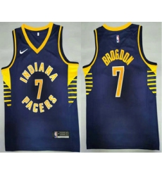 Men Indiana Pacers 7 Malcolm Brogdon New Navy Blue 2021 Nike Swingman Stitched NBA Jersey