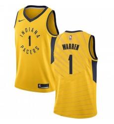 Men Nike Indiana Pacers 1 TJ Warren Gold NBA Swingman Statement Edition Jersey