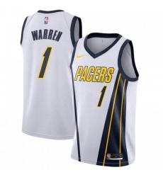 Men Nike Indiana Pacers 1 TJ Warren White NBA Swingman Earned Edition Jersey