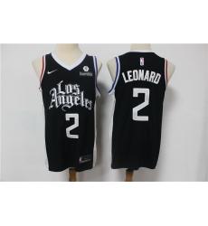 Men Los Angeles Clippers 2 Kawhi Leonard Black 2021 City Edition Nike Swingman Jersey