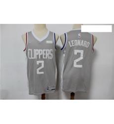 Men Los Angeles Clippers 2 Kawhi Leonard Gray 2021 Earned Edition Nike Swingman Jersey