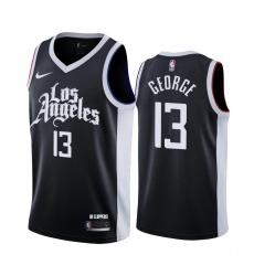 Men Nike Los Angeles Clippers 13 Paul George Black NBA Swingman 2020 21 City Edition Jersey