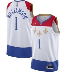 Men New Orleans Pelicans Zion Williamson White 2020 New City Edition Jersey