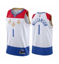 Men Nike New Orleans Pelicans 1 Zion Williamson White NBA Swingman 2020 21 City Edition Jersey