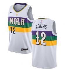 Men Nike New Orleans Pelicans 12 Steven Adams White NBA Swingman City Edition 2018 19 Jersey