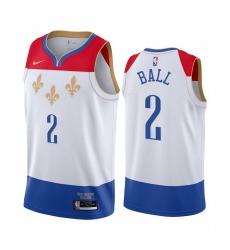 Men Nike New Orleans Pelicans 2 Lonzo Ball White NBA Swingman 2020 21 City Edition Jersey