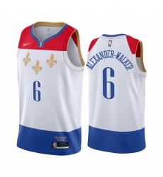 Men Nike New Orleans Pelicans 6 Nickeil Alexander Walker White NBA Swingman 2020 21 City Edition Jersey
