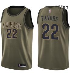 Pelicans #22 Derrick Favors Green Basketball Swingman Salute to Service Jersey