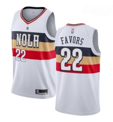 Pelicans #22 Derrick Favors White Basketball Swingman Earned Edition Jersey