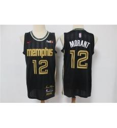Men Memphis Grizzlies 12 Ja Morant Black 2020 21 City Edition Nike Swingman Jersey