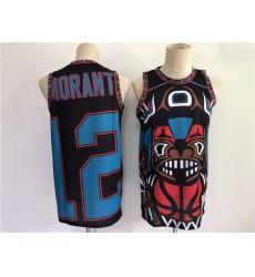 Men Men Memphis Grizzlies 12 Morant big face Black 2021 NBA Jersey