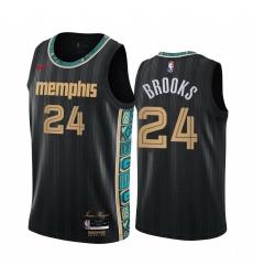Men Nike Memphis Grizzlies 24 Dillon Brooks Black NBA Swingman 2020 21 City Edition Jersey
