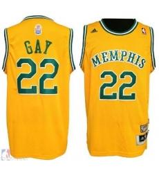 Men RUDY GAY MEMPHIS GRIZZLIES #22 Yellow HARDWOOD CLASSIC JERSEY