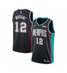 Men's Memphis Grizzlies #12 Ja Morant 2021 Black Swingman Stitched Basketball Jersey