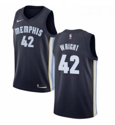Womens Nike Memphis Grizzlies 42 Lorenzen Wright Swingman Navy Blue Road NBA Jersey Icon Edition