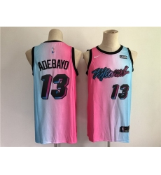 Men Men Miami Heat 13 Adebayo Blue and pink city Edition Nike 2021 NBA Jersey