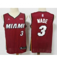 Men Miami Heat 3 Dwyane Wade Red 2020 Brand Jordan Swingman Stitched NBA Jersey With The NEW Sponsor Logo