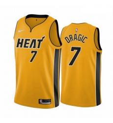Men Miami Heat 7 Goran Dragic Yellow NBA Swingman 2020 21 Earned Edition Jersey