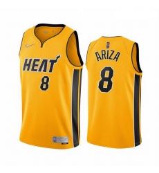 Men Miami Heat 8 Trevor Ariza Yellow NBA Swingman 2020 21 Earned Edition Jersey