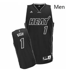 Mens Adidas Miami Heat 1 Chris Bosh Swingman Black Shadow NBA Jersey