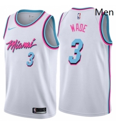 Mens Nike Miami Heat 3 Dwyane Wade Swingman White NBA Jersey City Edition