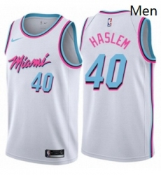 Mens Nike Miami Heat 40 Udonis Haslem Authentic White NBA Jersey City Edition