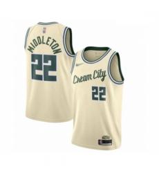 Bucks 22 Khris Middleton Cream Basketball Swingman City Edition 2019 20 Jersey