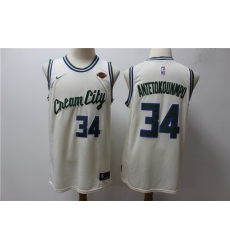 Bucks 34 Giannis Antetokounmpo Cream 2019 20 City Edition Nike Swingman Jersey