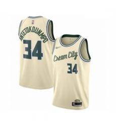 Bucks 34 Giannis Antetokounmpo Cream Basketball Swingman City Edition 2019 20 Jersey