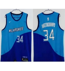 Men Milwaukee Bucks 34 Giannis Antetokounmpo Blue Nike 2021 Swingman Stitched NBA Jersey