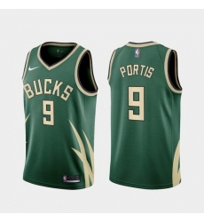Men Milwaukee Bucks Bobby Portis 2021 Earned Green Jersey