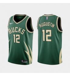 Men Milwaukee Bucks D.J. Augustin 2021 Earned Green Jersey